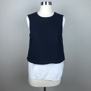 Theory Navy Waffled Twofer Sleeveless Blouse Top